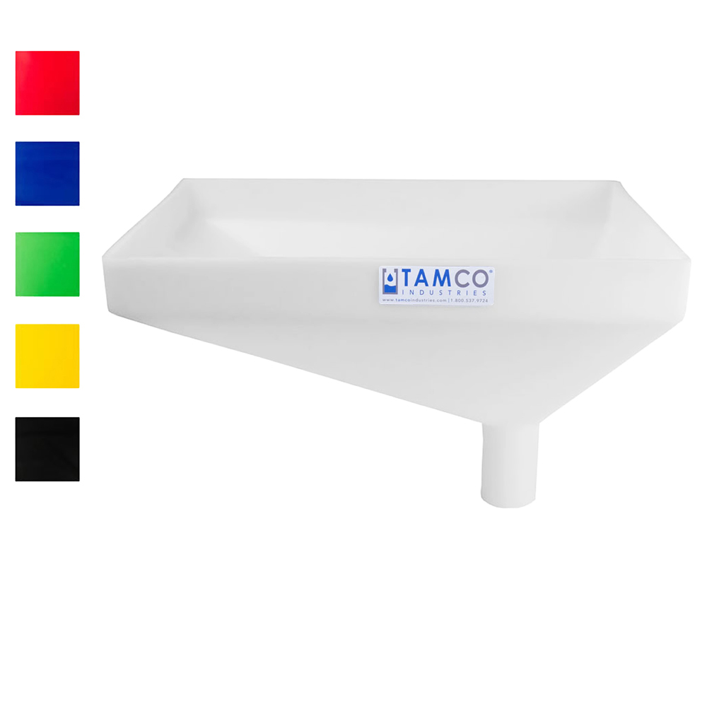 "Tamco® Heavy Duty 20"" x 13"" Rectangular Funnel with Offset Spout"
