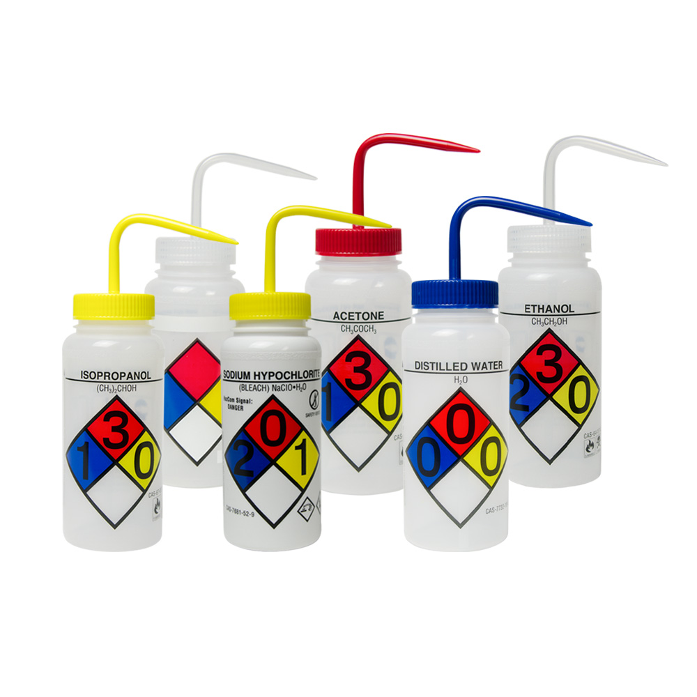 Wide Mouth Safety-Labeled 4-Color Wash Bottle