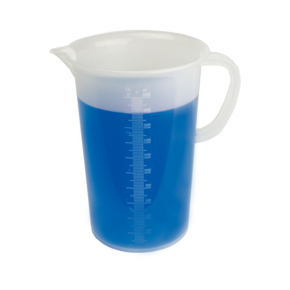 """2000mL Graduated Pitcher with Handle - 5-3/4"""" Top ID x 8.1"""" H"""