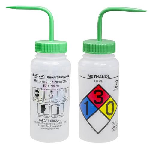 16 oz. Methanol Safety - Vented & Labeled Wide Mouth Wash Bottle