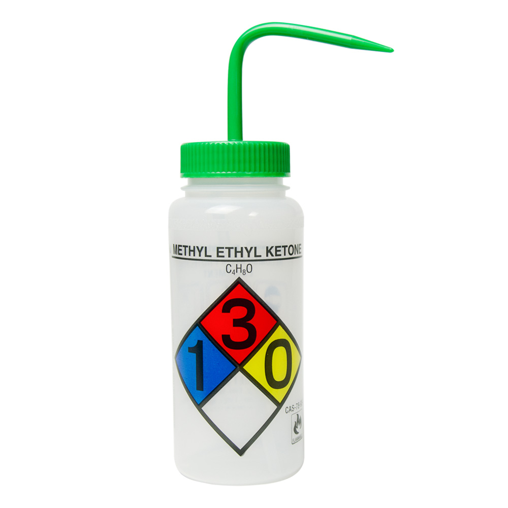 16 oz. Methyl Ethyl Ketone Wide Mouth Safety-Labeled Wash Bottle