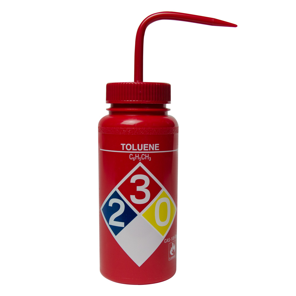500mL Toluene Wide Mouth Safety-Labeled Wash Bottle
