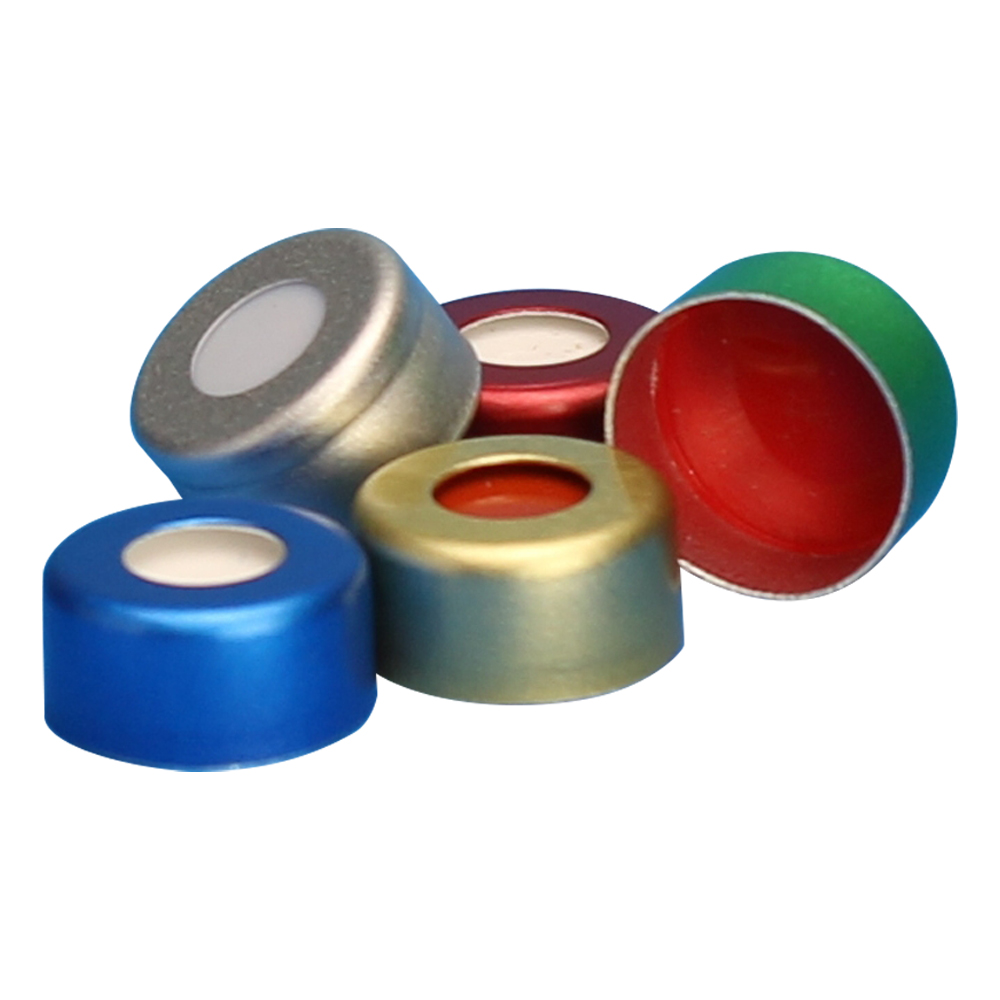 11mm Green Preassembled Aluminum Seals with Clear PTFE/Red Rubber Liners - Case of 1000