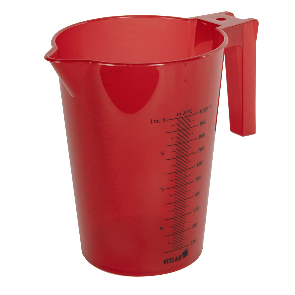 1000mL Red Polypropylene Graduated Stackable Pitcher