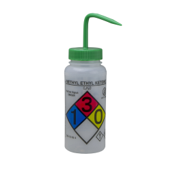 500mL MEK GHS Labeled Right-to-Know, Non-Vented Wash Bottle
