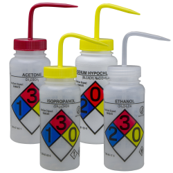 500mL GHS Labeled Right-to-Know, Vented Wash Bottles (Acetone, Isopropanol, Bleach & Ethanol)