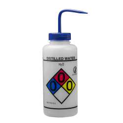 1000mL Distilled Water GHS Labeled Right-to-Know, Vented Wash Bottle
