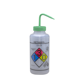 1000mL Methanol GHS Labeled Right-to-Know, Vented Wash Bottle