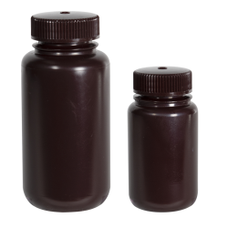 4 oz./125mL Nalgene™ Amber Wide Mouth Economy Bottles with 38mm Caps - Case of 72