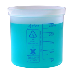 250mL Azlon® Polypropylene Square Ratio Beakers