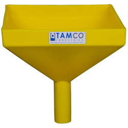 """10"""" Square Yellow Tamco® Funnel with 1-1/2"""" OD Spout"""