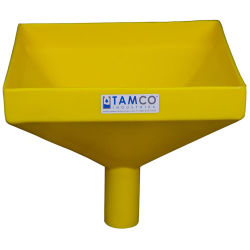 """12"""" Square Yellow Tamco® Funnel with 2"""" OD Spout"""