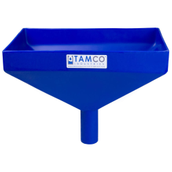 """12"""" x 8"""" Rectangular Blue Tamco® Funnel with 1-1/2"""" OD Center Spout"""