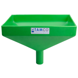 """12"""" x 8"""" Rectangular Green Tamco® Funnel with 1-1/2"""" OD Center Spout"""