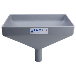 """12"""" x 8"""" Rectangular Light Gray Tamco® Funnel with 1-1/2"""" OD Center Spout"""