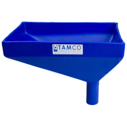 """12"""" x 8"""" Rectangular Blue Tamco® Funnel with 1-1/2"""" OD Offset Spout"""