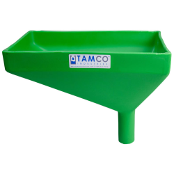 """12"""" x 8"""" Rectangular Green Tamco® Funnel with 1-1/2"""" OD Offset Spout"""