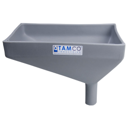"""12"""" x 8"""" Rectangular Light Gray Tamco® Funnel with 1-1/2"""" OD Offset Spout"""