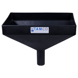"""16"""" x 10"""" Rectangular Black Tamco® Funnel with 2"""" OD Center Spout"""