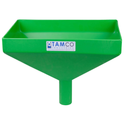 """16"""" x 10"""" Rectangular Green Tamco® Funnel with 2"""" OD Center Spout"""