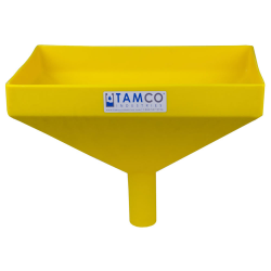 """16"""" x 10"""" Rectangular Yellow Tamco® Funnel with 2"""" OD Center Spout"""