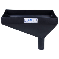 "16"" x 10"" Rectangular Black Tamco® Funnel with 2"" OD Offset Spout"