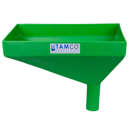 "16"" x 10"" Rectangular Green Tamco® Funnel with 2"" OD Offset Spout"