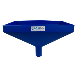 """20"""" x 13"""" Rectangular Blue Tamco® Funnel with 2-1/2"""" OD Center Spout"""