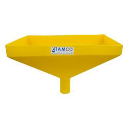 """20"""" x 13"""" Rectangular Yellow Tamco® Funnel with 2-1/2"""" OD Center Spout"""