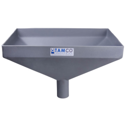 """20"""" x 13"""" Rectangular Light Gray Tamco® Funnel with 2-1/2"""" OD Center Spout"""