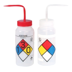 Safety Vented & Labeled 4-Color Wide Mouth Wash Bottle