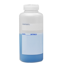1000mL Wide Mouth Write-On HDPE Bottles with Caps - Case of 6