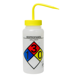 500mL (16 oz.) Scienceware ® Isopropanol Wide Mouth Safety-Labeled Wash Bottle with Yellow 53mm Cap