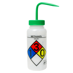 16 oz. Methanol Wide Mouth Safety-Labeled Wash Bottle