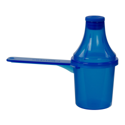 30cc Blue Polypropylene Scoop with Attached Funnel & Cap