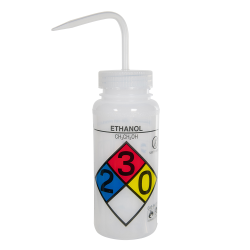 500mL (16 oz.) Scienceware® Ethanol Safety-Vented & Labeled Wide Mouth Wash Bottle with Natural 53mm Cap