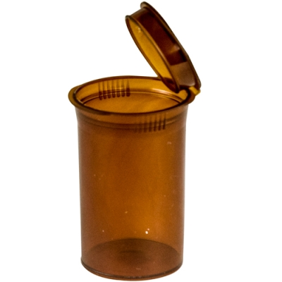 2.38 oz. Transparent Amber Squeezetop® Hinged Lid Vial