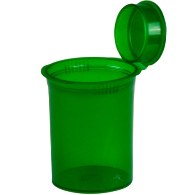 3.75 oz. Transparent Green Squeezetop® Hinged Lid Vial
