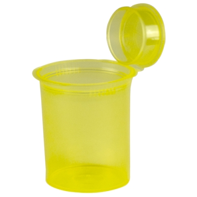 3.75 oz. Transparent Yellow Squeezetop® Hinged Lid Vial