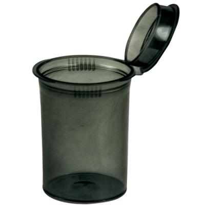 30 Dram/3.75 oz. Transparent Black Squeezetop® Hinged Lid Vial