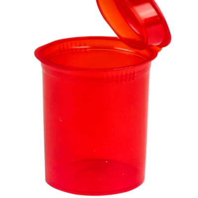 7.50 oz. Transparent Red Squeezetop® Hinged Lid Vial