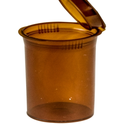 7.50 oz. Transparent Amber Squeezetop® Hinged Lid Vial