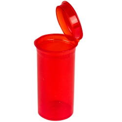 1.63 oz. Transparent Red Squeezetop® Hinged Lid Vial