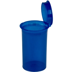 19 Dram/2.38 oz. Transparent Blue Squeezetop® Hinged Lid Vial