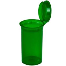 2.38 oz. Transparent Green Squeezetop® Hinged Lid Vial