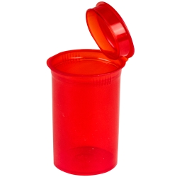 19 Dram/2.38 oz. Transparent Red Squeezetop® Hinged Lid Vial