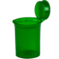 30 Dram/3.75 oz. Transparent Green Squeezetop® Hinged Lid Vial
