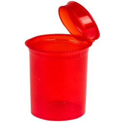 30 Dram/3.75 oz. Transparent Red Squeezetop® Hinged Lid Vial