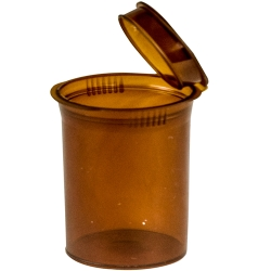 30 Dram/3.75 oz. Transparent Amber Squeezetop® Hinged Lid Vial