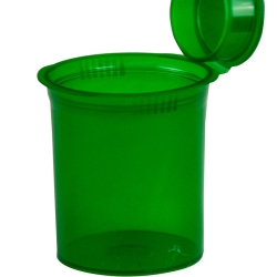60 Dram/7.50 oz. Transparent Green Squeezetop® Hinged Lid Vial